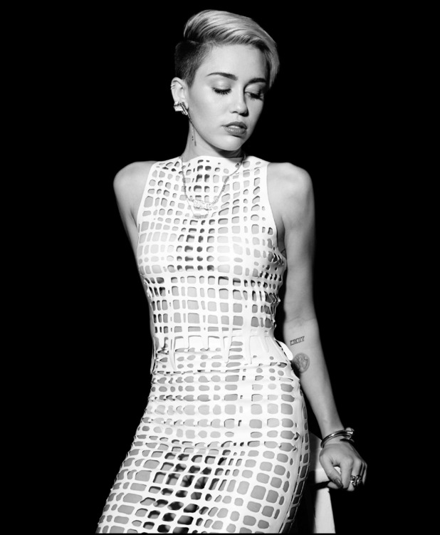 Miley Cyrus, mesh dress, Notion magazine