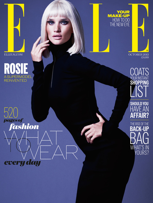 Rosie Huntington-Whiteley on the cover of the October issue of Elle magazine
