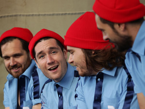 Bastille chill backstage at Bestival.