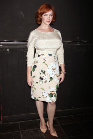 Christina Hendricks Opening night after party for the play Everything Is Ours, held at the Emerald Pub.