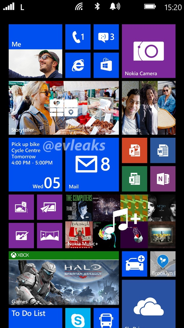 Purported screenshot of the Nokia Lumia 1520's home screen
