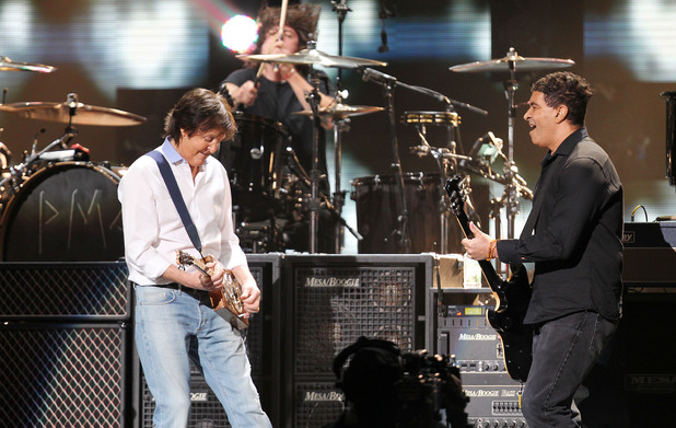 Sir Paul McCartney with Pat Smear and Dave Grohl of Nirvana