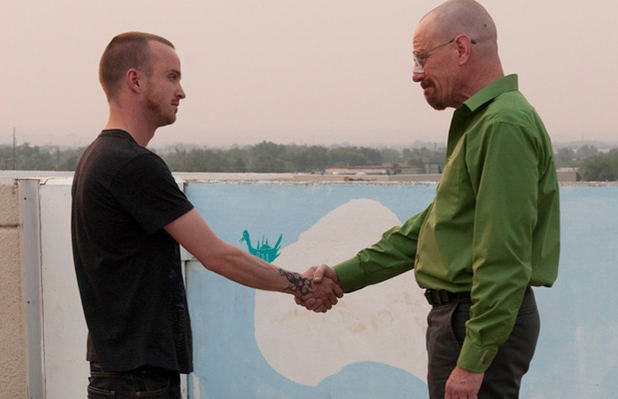 Aaron Paul as Jesse and Bryan Cranston as Walt