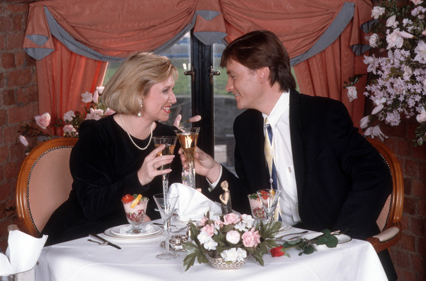 'This Morning' TV Programme, Liverpool, Britain. - 1989 Judy Finnigan and Richard Madeley photo shoot for Valentines Day 1989
