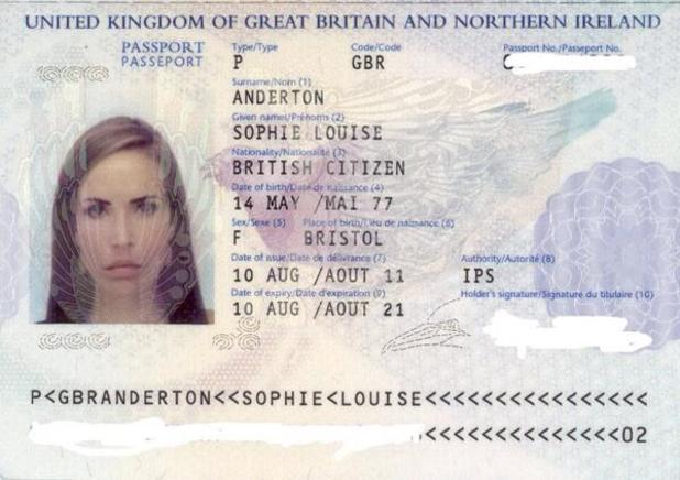 Sophie Anderton posts passport scan online to prove her age.