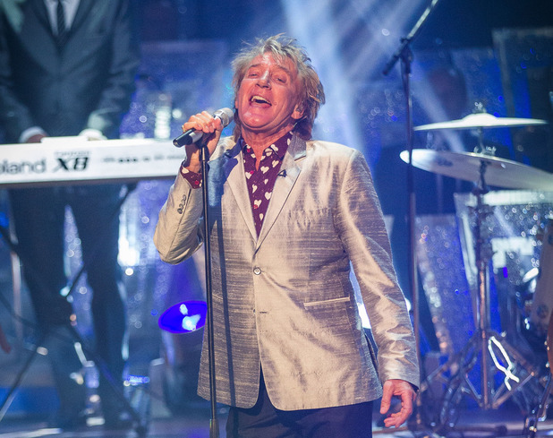 Rod Stewart performing on the Strictly Come Dancing 2013 launch show.