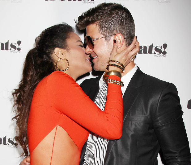 Robin Thicke Official Album Release Party, New York, Paula Patton Stella McCartney dress