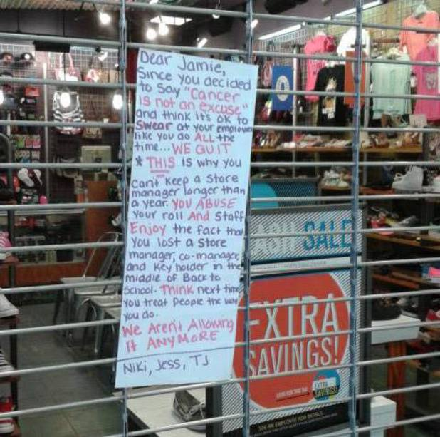 Store staff quit with public message to 'abusive' boss