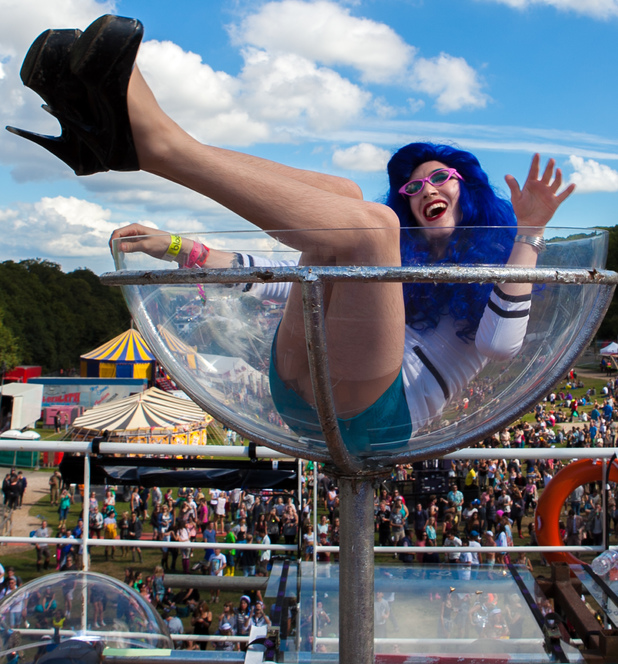 A performer takes centre stage at Bestival.