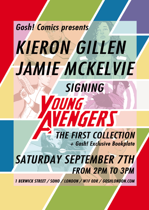 Young Avengers Gosh! signing poster