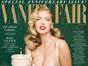 Model poses in a vintage swimsuit with a birthday cake on the cover of Vanity Fair.