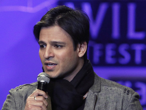 Bollywood actor Vivek Oberoi speaks at the Wills Lifestyle India Fashion Week Autumn Winter 2012 in New Delhi, India, Friday, Feb. 17, 2012.
