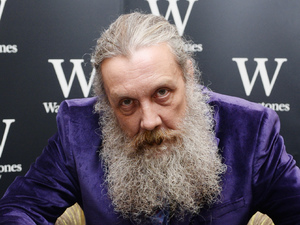 Alan Moore signs copies of his book 'Fashion Beast' at Waterstones Piccadilly.