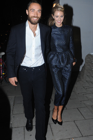 James Middleton and Donna Air at Elle magazine's London Fashion Week cocktail party at the Sanderson Hotel, London.