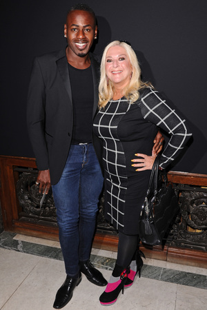 <em>Strictly Come Dancing</em>&#39;s Vanessa Feltz and her partner Ben Ofoedu at Julien Macdonald&#39;s London Fashion Week show.