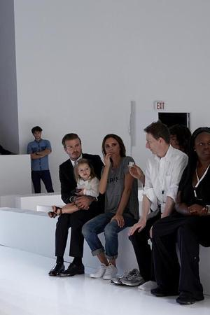 David Beckham, Harper Seven Beckham and Victoria Beckham at her run-through