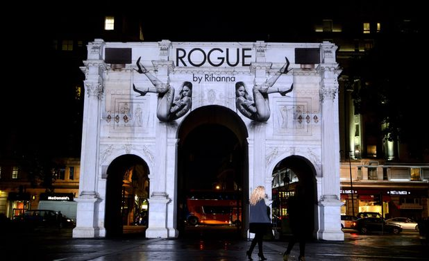 Rihanna 'Rogue' perfume projection on Marble Arch, London, Brirtain - 09 Sep 2013 Rihanna 'Rogue' perfume projection on Marble Arch 9 Sep 2013