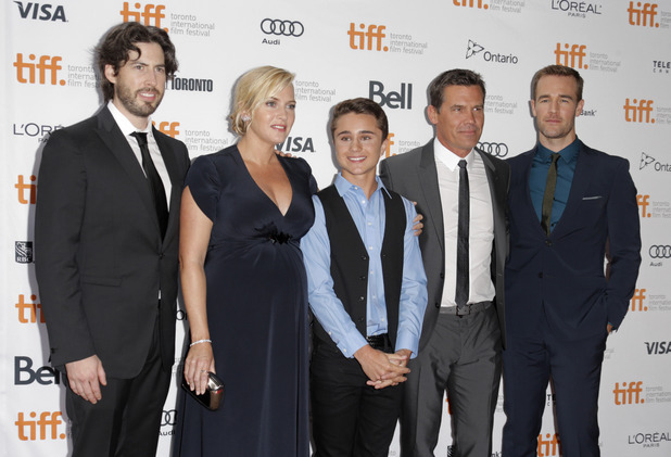 "Jason Reitman, from left, Kate Winslet, Gattlin Griffith, Josh Brolin and James Van Der Beek arrive at the premiere of ""Labor Day"" on day 3 of the Toronto International Film Festival at the Ryerson Theatre on Saturday, Sept. 7, 2013, in Toronto."