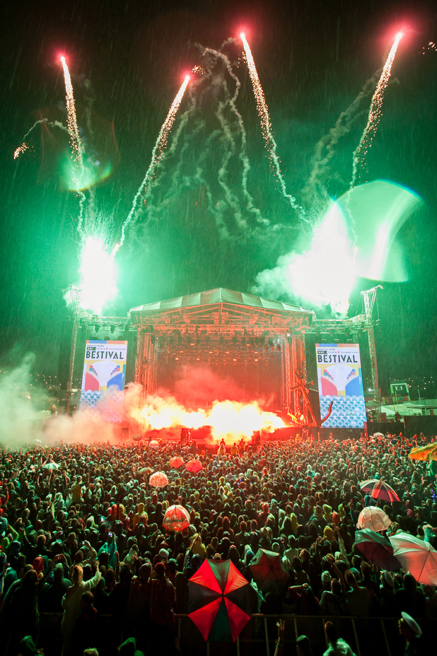 Fireworks are let off during the grand finale on Day 4 of Bestival 2013