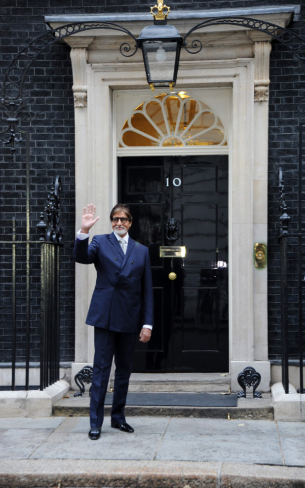 Amitabh Bachchan outside the iconic 10 Downing Street.