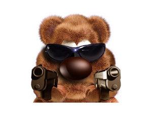 Robocod angry teddy.