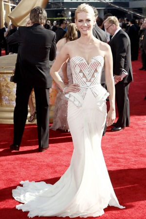 January Jones arrives at the 61st Primetime Emmy Awards on Sunday, Sept. 20, 2009, in Los Angeles. (AP Photo/Matt Sayles)