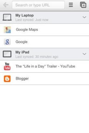 'Chrome' app screengrab.