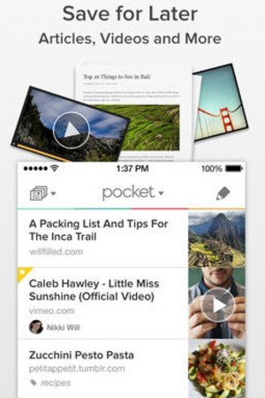 'Pocket' app screengrab.