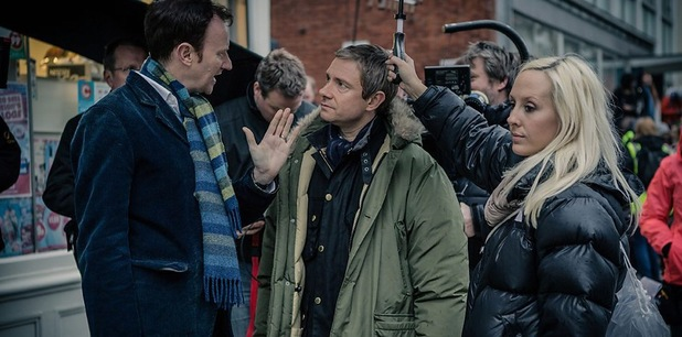'Sherlock' series three behind-the-scenes shot.