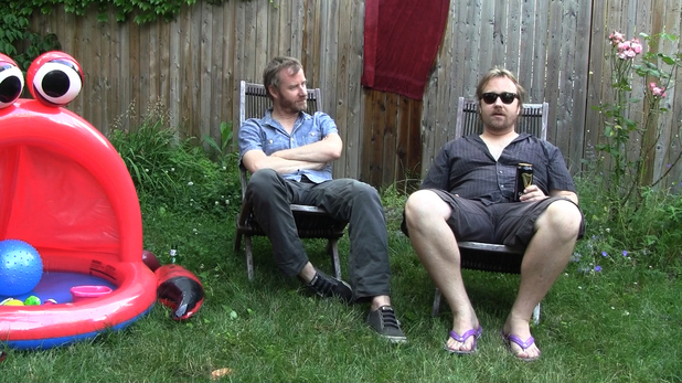 Matt Berninger, Tom Berninger pose for The National documentary Mistaken for Strangers.