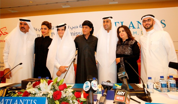 The stars of 'Happy New Year' at a Dubai film and tv press event.