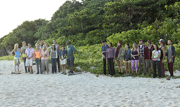 The twenty survivors separate into their respected tribes during the premiere episode of Survivor: Blood vs. Water