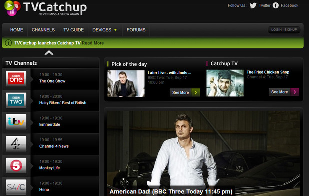 TvCatchup offers catch-up TV