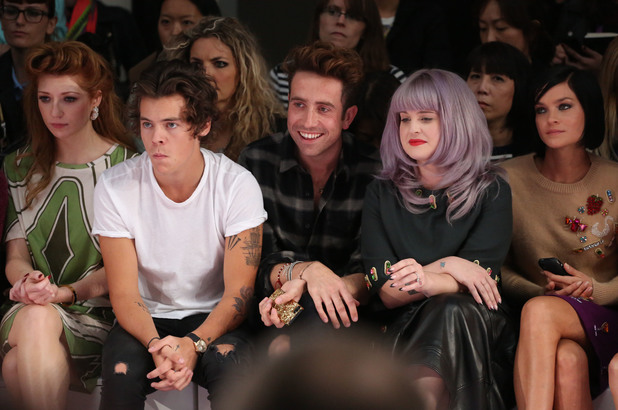 London Fashion Week SS14 - House of Holland - Front Row Nicola Roberts, Harry Styles, Nick Grimshaw, Kelly Osbourne