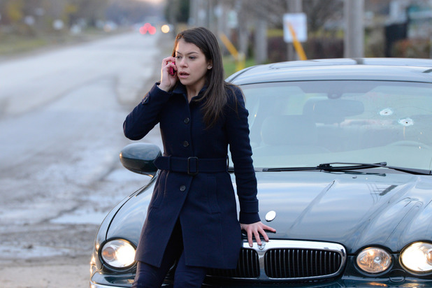 Tatiana Maslany as Sarah in 'Orphan Black' episode 2: 'Instinct'