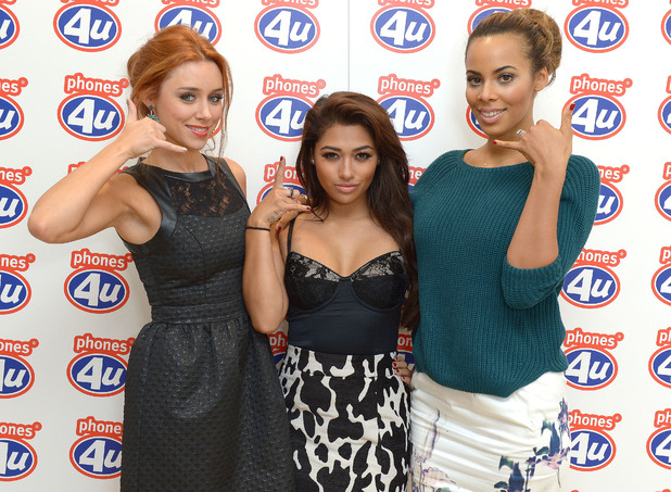 The Saturdays' Una Healy, Rochelle Humes and Vanessa White upgraded Friday and unveiled the new iphone 5S and iPhone 5C at Phones 4u, Oxford Street