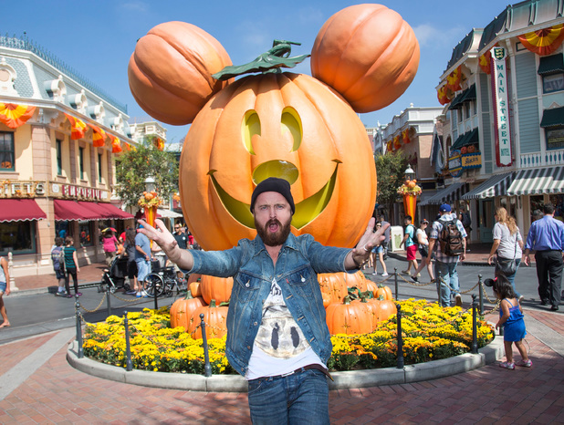 Actor Aaron Paul celebrates 'Halloween Time' at Disneyland September 17, 2013 in Anaheim, California. The 'Halloween Time' celebration at the Disneyland Resort, which features special attractions and entertainment, continues through October 31, 2013.