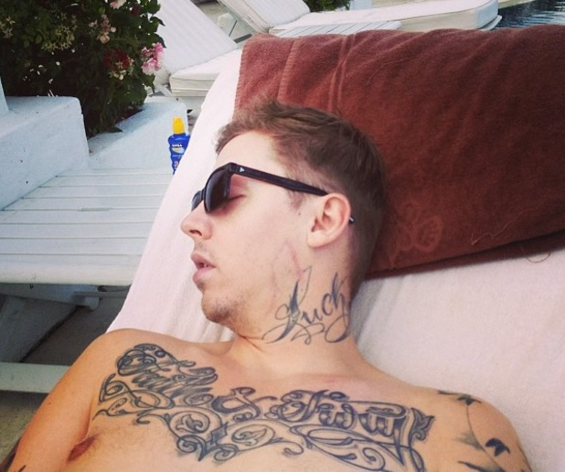 Professor Green asleep while on his honeymoon