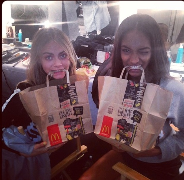 "Cara Delevingne, Jourdan Dunn, #""My food is faster than yours!!! #fashionweekdietplan"""