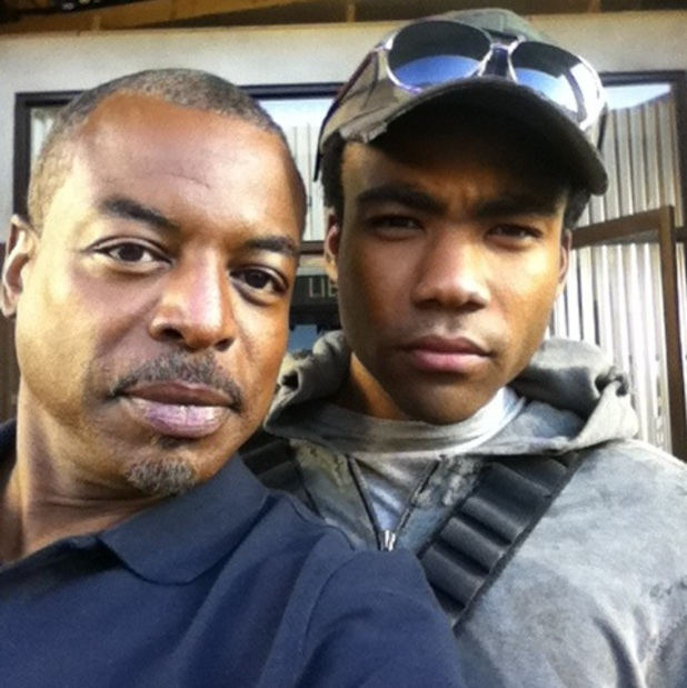 LeVar Burton and Donald Glover on the Community set