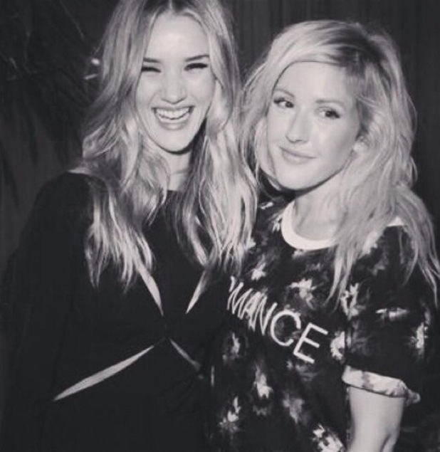 "Rosie Huntington-Whiteley, Ellie Goulding ""what an absolute delight of a lady@rosiehw"" London Fashion Week 2013"