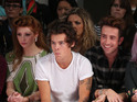 Harry Styles, Nick Grimshaw and Ellie Goulding on the front row at LFW 2013.