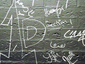 The One Direction-signed wall for Free Radio