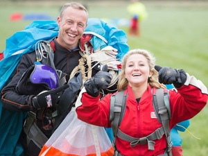 Jazz Franks skydives for charity.