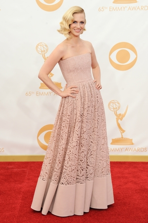 January Jones, wearing Givenchy, arrives at the 65th Primetime Emmy Awards at Nokia Theatre on Sunday Sept. 22, 2013, in Los Angeles