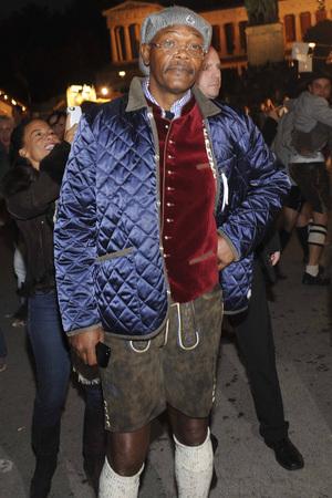Samuel L. Jackson wearing lederhosen at Oktoberfest