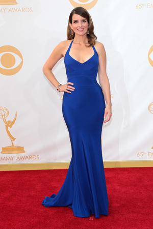 Tina Fey, wearing Narciso Rodriguez, arrive at the 65th Primetime Emmy Awards at Nokia Theatre on Sunday Sept. 22, 2013, in Los Angeles