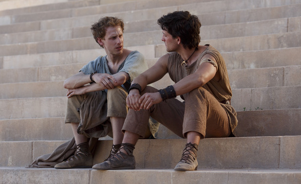 Robert Emms as Pythagoras and Jack Donnelly as Jason in 'Atlantis' episode 1