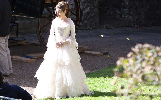 Anna Kendrick filming 'Into The Woods' at Dover Castle, England