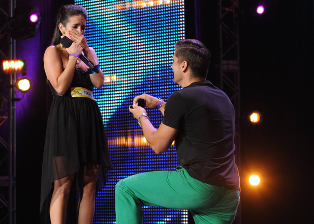 David Grey proposes to his girlfriend Lauren Waguespack, on stage on 'The X Factor USA'